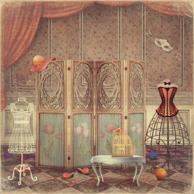 Cuadro Vintage maniquí y una pantalla en la habitación, de moda y femini