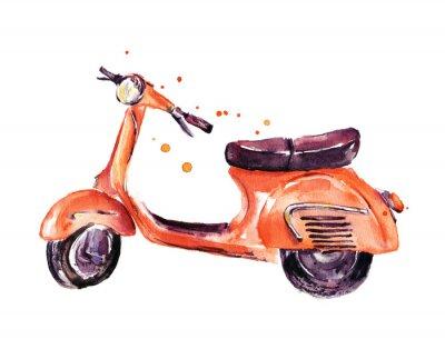 Cuadro Vintage scooter, ilustración de acuarela aislado en blanco