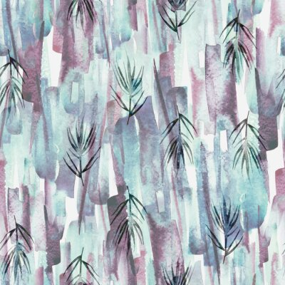 Cuadro Vintage seamless watercolor pattern of plants, wild grasses, algae, twigs, branch, rosemary, tropical, palm, plant. watercolor stylish pattern. Abstract green of paint splash. Trendy background.