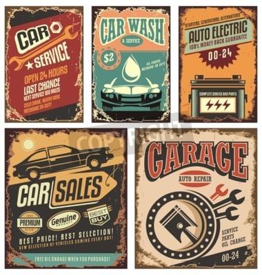 Cuadro Vintage servicio de coches de metal signos y carteles