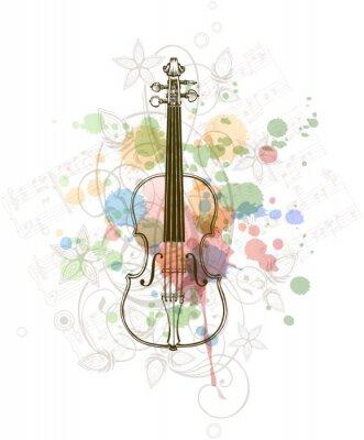 Violín, hojas de música y color de la pintura de fondo floral ...