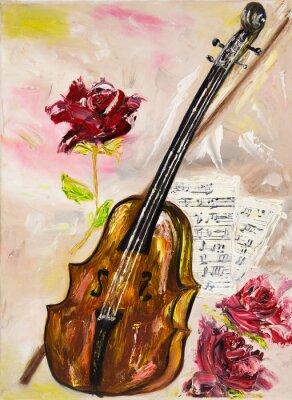 Cuadro Violín y rosas