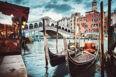 Cuadro Vista clásica del puente de Rialto - Venecia
