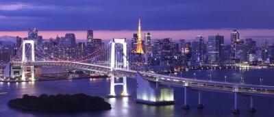 Cuadro vista de la bahía de Tokio, puente del arco iris y de la Torre de Tokio hito