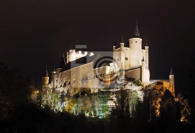 vista de medianoche del Alcázar de Segovia