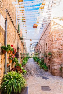 Vista de una calle de pueblo en Valldemossa Mallorca España