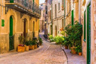 Cuadro Vista de una calle romántica de un antiguo pueblo mediterráneo en España