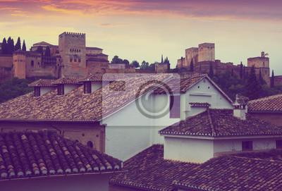 Vista del atardecer de Alcazaba en Alhambra