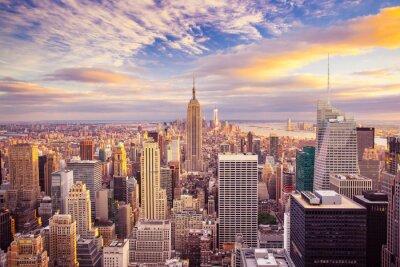 Cuadro Vista del atardecer de la ciudad de Nueva York con vistas a Manhattan
