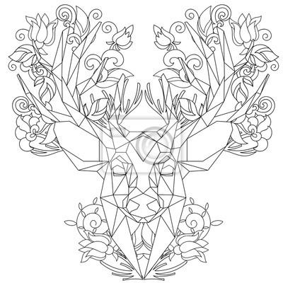 Vista frontal del icono triangular de la cabeza animal, diseño ...