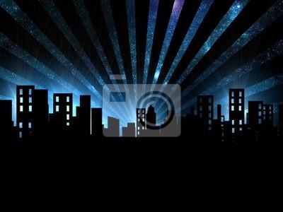 Vista Nocturna De La Ciudad Pinturas Para La Pared Cuadros Luces