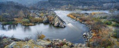 Cuadro Vista panorámica al río en otoño