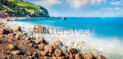Cuadro Vista panorámica de la primavera de la playa de avali. Increíble paisaje marino de la mañana del mar jónico. Escena en el aire libre emocionante de la isla de Lefkada, Grecia, Europa. Belleza del fond