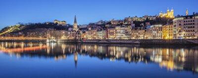 Cuadro Vista panorámica de Lyon con el río Saone de noche