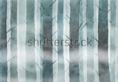 Cuadro Watercolor forest. Foggy wood.