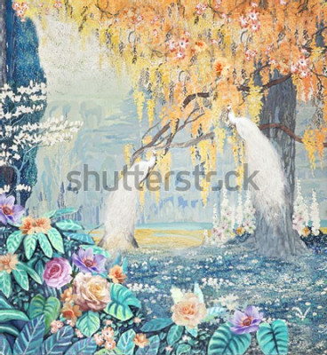 Cuadro Watercolor hand-painted landscape rose peacock yellow tree