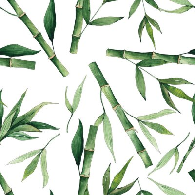Cuadro Watercolor handpainted seamless pattern with green tropical bamboo and leaves