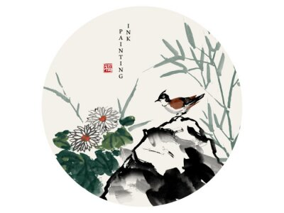 Cuadro Watercolor ink paint art vector texture illustration bird on a rock and chrysanthemum flower bamboo. Translation for the Chinese word : Blessing