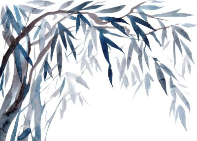 Cuadro Watercolor Leaves and tree branches,   Traditional Japanese ink painting sumi-e.