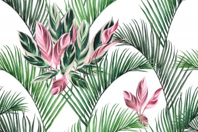 Cuadro Watercolor painting colorful coconut,green,pink leaves seamless pattern background.Watercolor hand drawn illustration tropical exotic leaf prints for wallpaper,textile Hawaii aloha summer style..