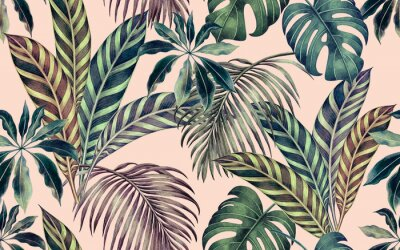 Cuadro Watercolor painting colorful tropical leaf,green leave seamless pattern background.Watercolor hand drawn illustration tropical exotic leaf prints for wallpaper,textile Hawaii aloha summer style..