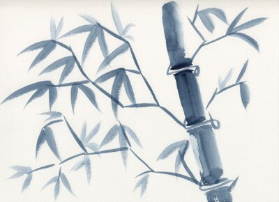 Cuadro Watercolor painting of asian bamboo stem with leaves in sumie-e ink style. Hand drawn oriental style serene landscape. Concept for decoration, relaxation, restore, mindful meditation background.