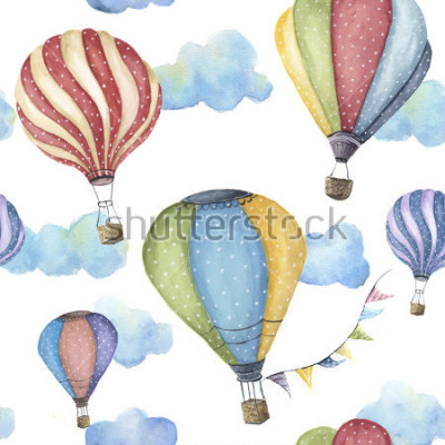 Cuadro Watercolor pattern with cartoon hot air balloon. Transport ornament with flag garlands and clouds isolated on white background