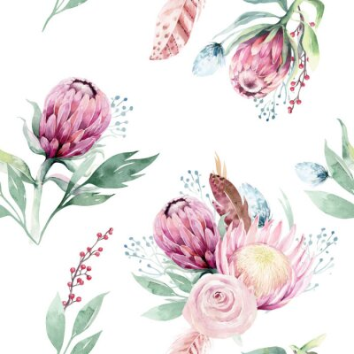 Cuadro Watercolor protea seamless pattern. tropical leaves background. Textile texture. Hand drawn illustration