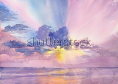 Cuadro Watercolor purple clouds in the seaside sky