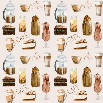 Cuadro Watercolor seamless pattern with illustrations of coffee cup, coffee beans, coffee grinder, cappuccino, latte and desserts