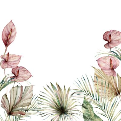 Cuadro Watercolor tropic border with anthurium and palm leaves. Hand painted frame with flowers and plant isolated on white background. Floral holiday illustration for design, print, background.