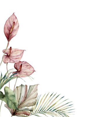 Cuadro Watercolor tropic card with anthurium and palm leaves. Hand painted frame with flowers and plant isolated on white background. Floral illustration for design, print, background. Invitation template.