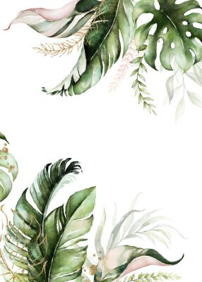 Cuadro Watercolor tropical floral border - green, blush & gold leaves. For wedding stationary, greetings, wallpapers, fashion, background.