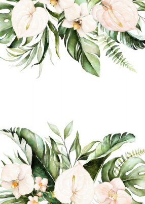 Cuadro Watercolor tropical floral border - green, blush leaves & flowers . For wedding stationary, greetings, wallpapers, fashion, background.