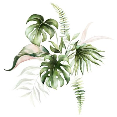Cuadro Watercolor tropical floral bouquet - green & blush leaves. For wedding stationary, greetings, wallpapers, fashion, background.