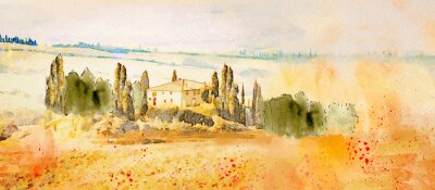 Cuadro Watercolor Tuscany. Countryside landscape