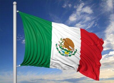 Cuadro Waving flag of Mexico on flagpole, on blue sky background.