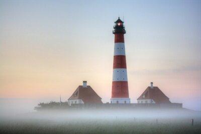 Cuadro Westerhever faro en la niebla del amanecer