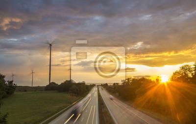 Wiatraki Obok Autostrady w Niemczech