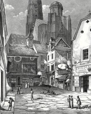 Cuadro Wien, Zwettlhof mit Esteban um 1842, Kupferstichvorlage
