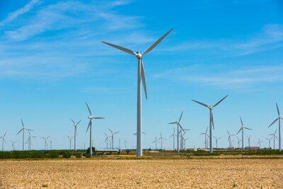 Wind power plants near the town of La Muela, Spain, nobody