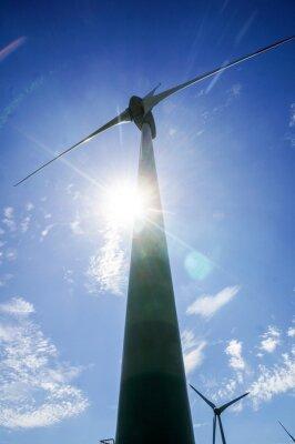 wind turbine on background of blue sky, in Norway Scandinavia North Europe