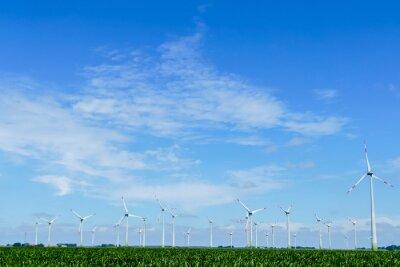 wind turbines in green field, in Sweden Scandinavia North Europe