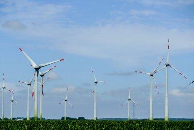 wind turbines on blue sky, in Sweden Scandinavia North Europe