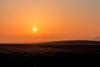 Windräder en el Nebel der aufgehenden Sonne