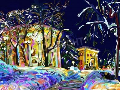 Cuadro winter night cityscape digital painting