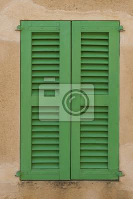 wood shutters green