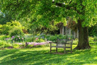 Cuadro wooden bench at flower garden park