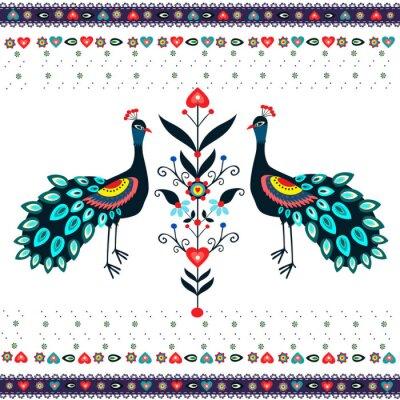 Cuadro Wzor haftu z pawiami