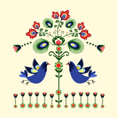 Cuadro Wzor haftu z ptakami